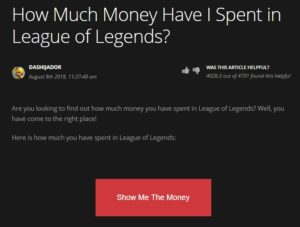Money you have Spent in League of Legends